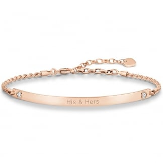 Love Bridge Rose Gold Valentines Hearts Bracelet LBA0045-416-14