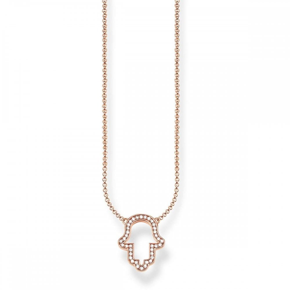 Thomas Sabo Rose Gold Open Hamsa Hand Necklace Jewellery From