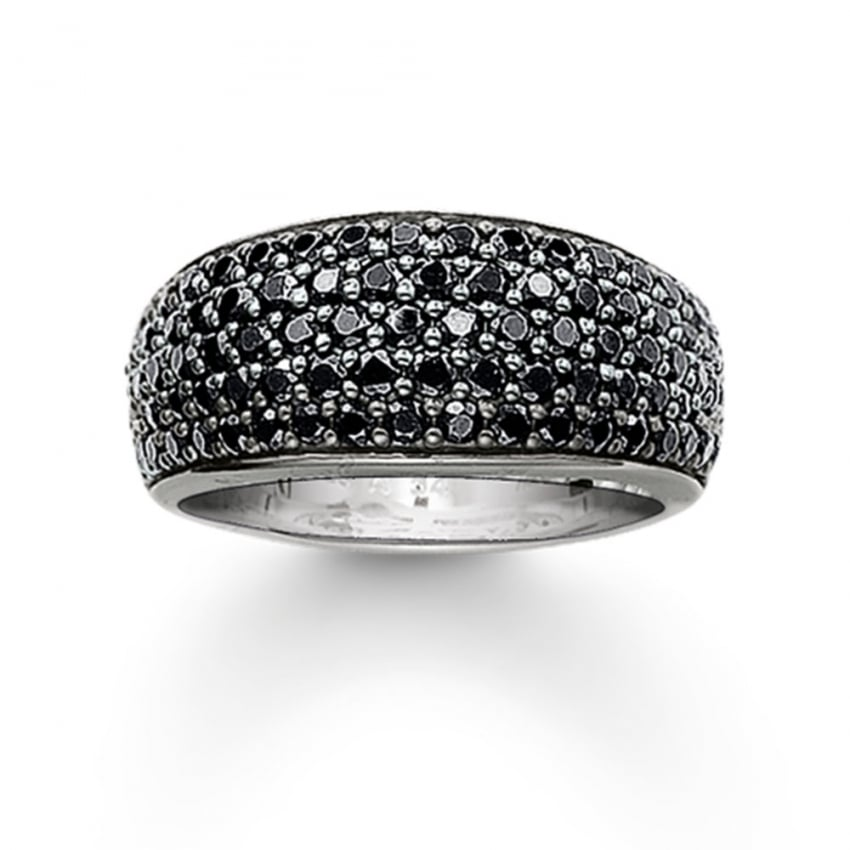 sabo silver and black cubic zirconia pave set ring