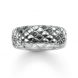 Silver and Black Cubic Zirconia Snake Skin Ring