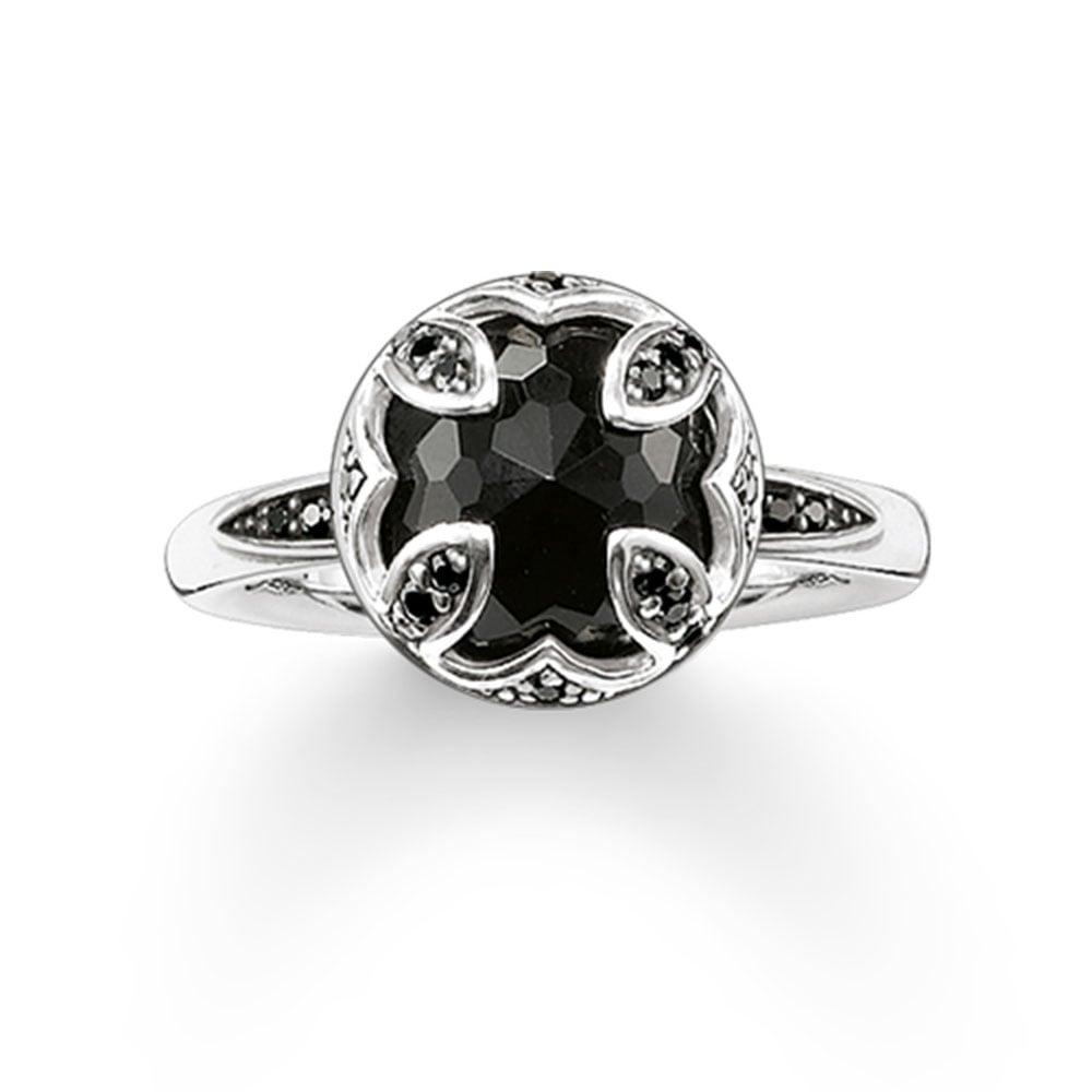 thomas sabo silver and black onyx lotus flower ring. Black Bedroom Furniture Sets. Home Design Ideas