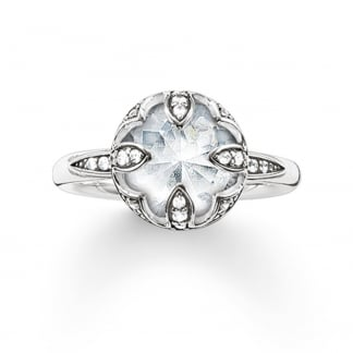 Silver Cubic Zirconia Lotus Flower Ring