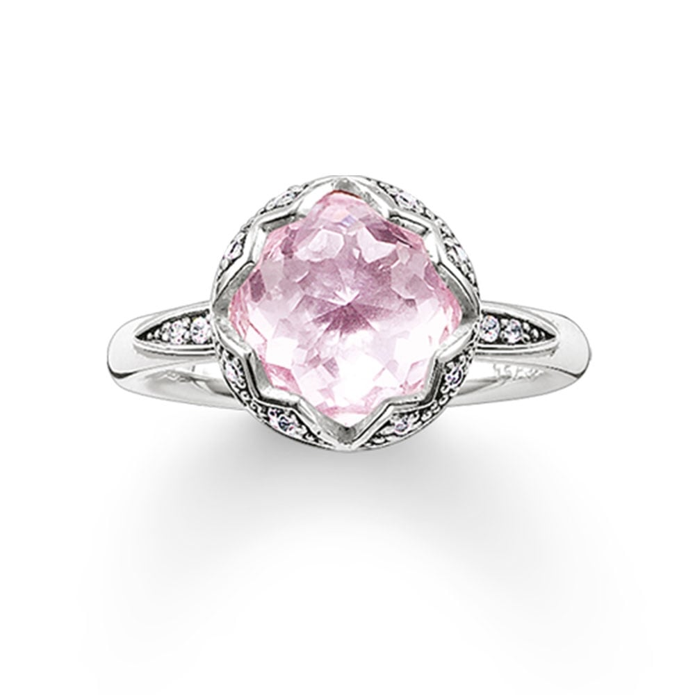 Thomas Sabo Silver And Pink Lotus Flower Ring