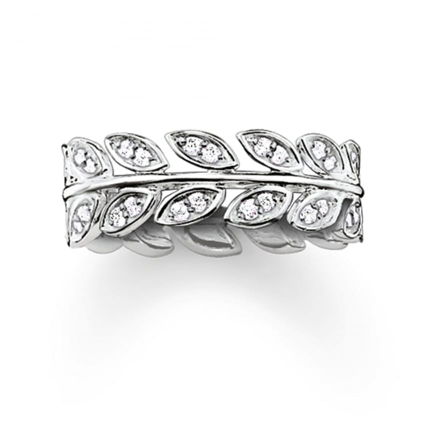 Thomas Sabo Silver and Stone Set Vine Leaf Ring TR2016-051-14