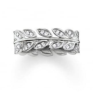 Silver and Stone Set Vine Leaf Ring