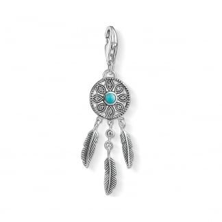Silver and Turquoise Dream Catcher Charm
