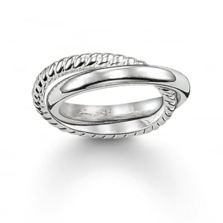Silver Entwined Rope and Plain Twist Ring TR1990-001-12