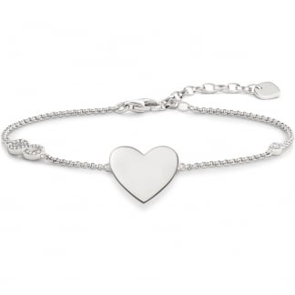 Silver Heart with Infinity Engraveable Bracelet A1486-051-14