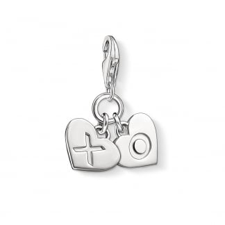 Silver Hugs and Kisses Double Heart Charm 1314-001-12