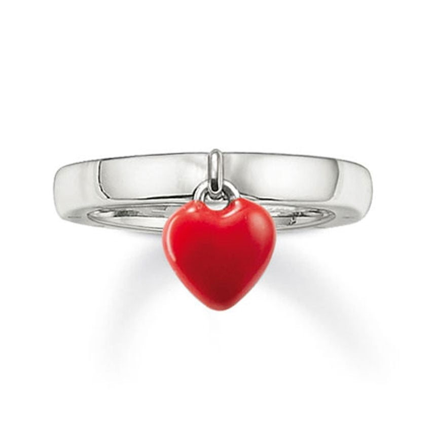 Thomas Sabo Silver Ring with Red Enamel Heart Drop TR1883-007-10