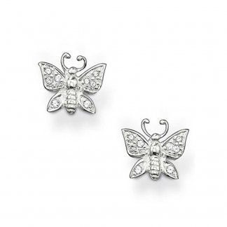 Silver Stone Set Butterfly Stud Earrings H1735-051-14