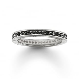 Silver Thin Black Cubic Zirconia Eternity Ring TR1700-051-11