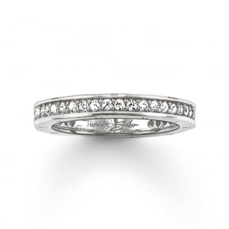 Silver Thin Cubic Zirconia Eternity Ring TR1700-051-14