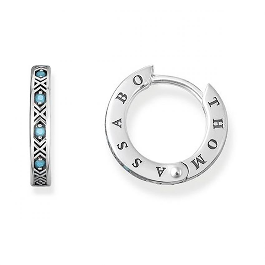 Thomas Sabo Simulated Turquoise Hinged Hoops CR601-667-17