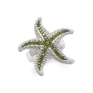 Stone Set Starfish Ring Size P.5
