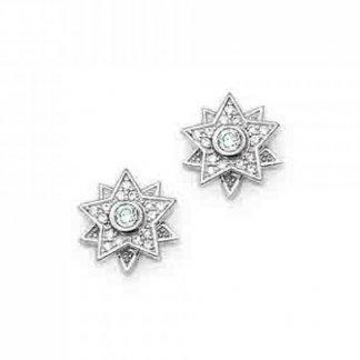 White Cubic Zirconia Star Stud Earrings H1812-051-14