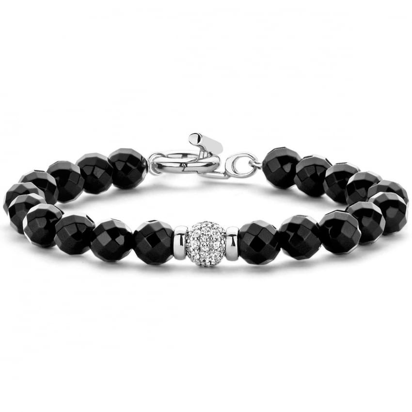 Ti Sento Onyx Bracelet With Pave CZ Ball 2808OZ