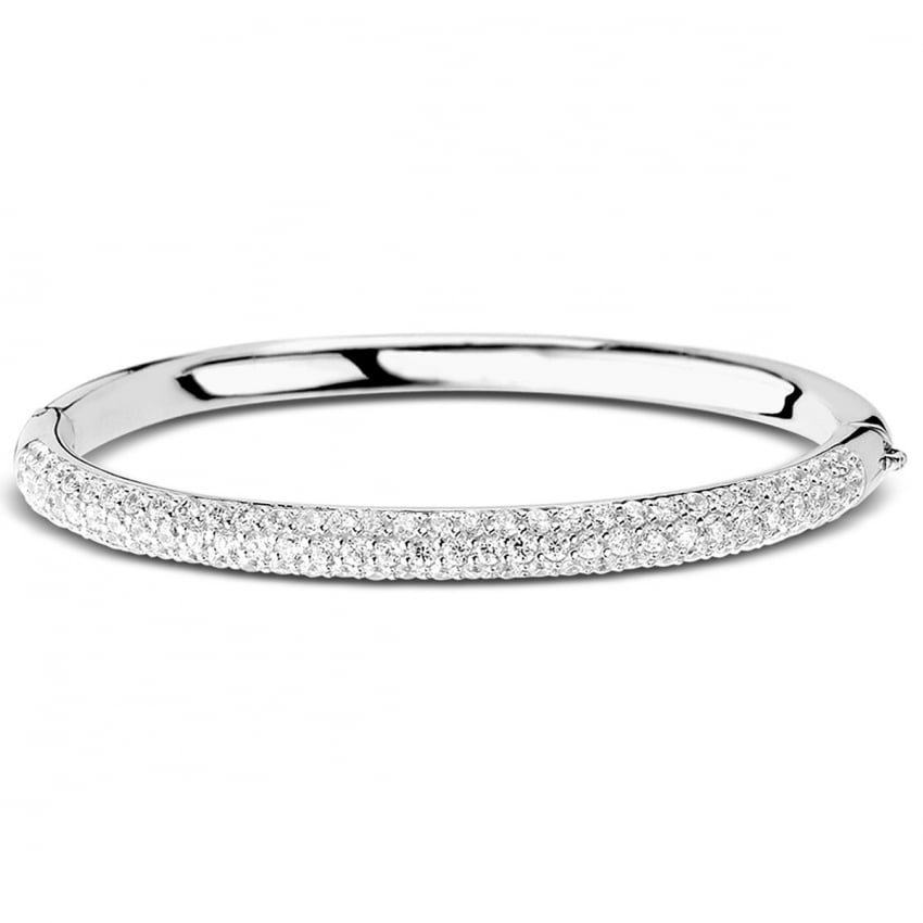 Ti Sento Pave Set Silver Bangle 2275ZI
