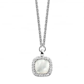 Silver Necklace with Zirconia and Mother Of Pearl 3792MW42