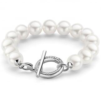 Silver & White Pearl Bracelet 2430PW