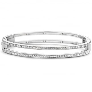 Stone Set Open Hinged Bangle 2826ZI