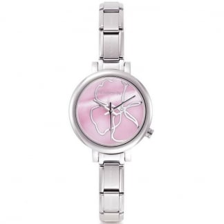 Time Pink Steel Ladies Charm Watch With Interchangeable Strap