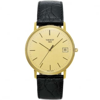 Gent's 18ct Gold Black Leather Quartz Watch T71.3.401.21