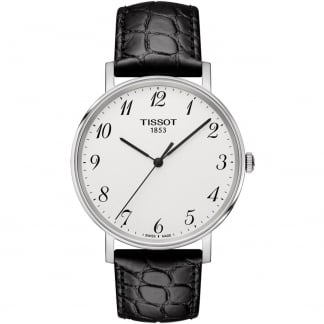 Gent's Black Leather Everytime Quartz Watch T109.410.16.032.00