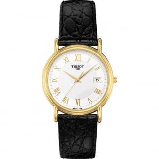 Ladies 18ct Gold Carson Black Leather Quartz Watch T71.3.129.13