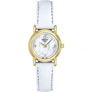 Ladies 18ct Gold White Leather Quartz Watch