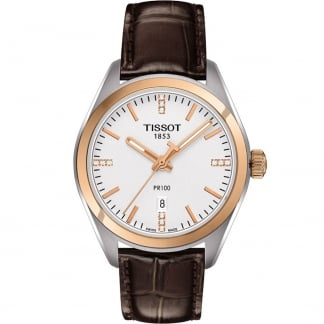 Ladies Bi-Colour PR 100 Brown Leather Quartz Watch