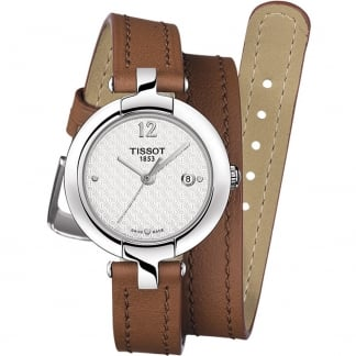 Ladies Pinky Brown Leather Double-Wrap Watch T084.210.16.017.04
