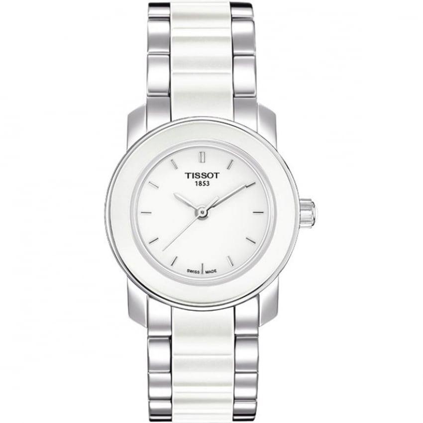 Tissot Ladies Cera Steel & White Ceramic Bracelet Watch T064.210.22.011.00