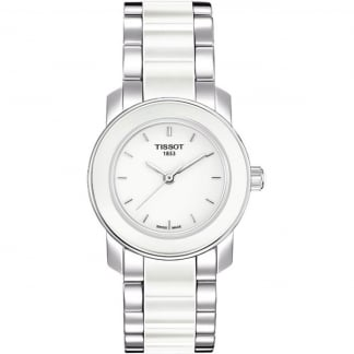Ladies Cera Steel & White Ceramic Bracelet Watch
