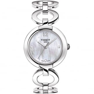 Ladies Pinky Diamond Set Circle Link Watch