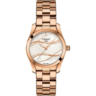 Ladies Diamond T-Wave Rose Gold MoP Dial Watch