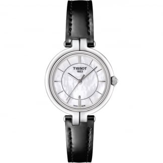 Ladies Flamingo Black Strap MOP Dial Watch