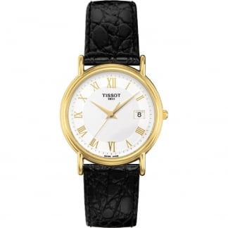 Ladies 18ct Gold Carson Black Leather Quartz Watch T71.3.129.13