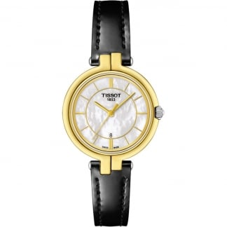 Ladies Gold Tone Flamingo Black Strap Watch