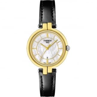 Ladies Gold Tone Flamingo Black Strap Watch T094.210.26.111.00