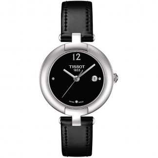Ladies Black Leather Stone Set Pinky Watch T084.210.16.057.00