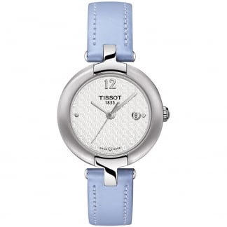 Ladies Powder Blue Leather Pinky Watch T084.210.16.017.02