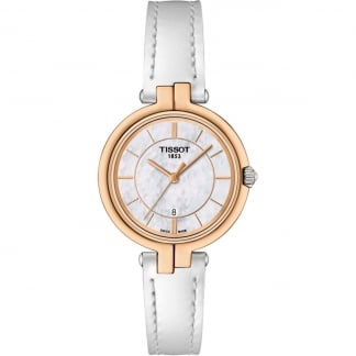 Ladies Rose Gold Flamingo White Strap Watch