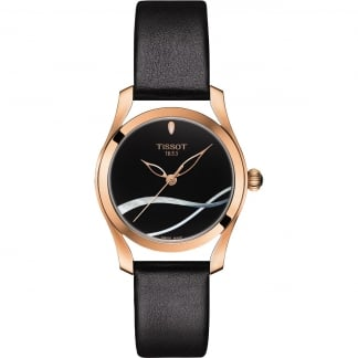 Ladies Rose Gold T-Wave Black Leather Strap Watch