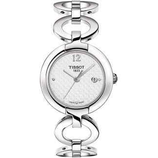 Ladies Silver Tone Pinky Quartz Watch