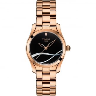 Ladies T-Wave Rose Gold Black Dial Watch