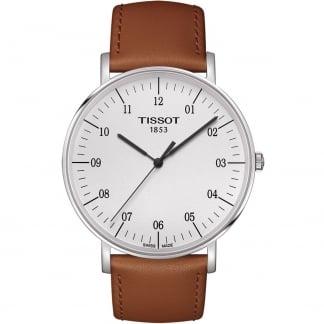 Men's 42MM Tan Leather Quartz Everytime Watch T109.610.16.037.00