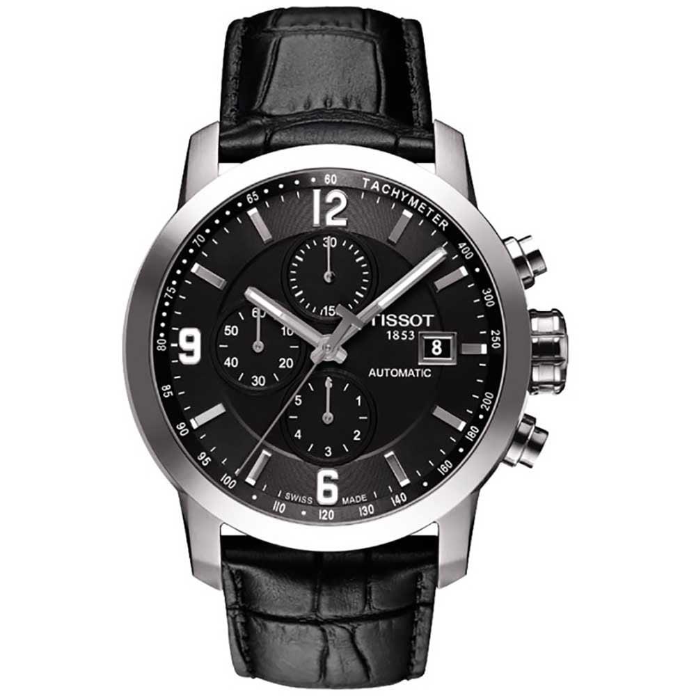 cf6d27ce0fb7 Tissot Men s Black Leather Strap PRC 200 Automatic Chronograph Watch  Product Code  T055.427.16.057.00