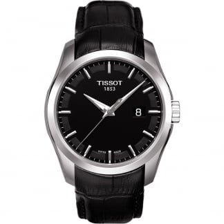 Men's Courturier Black Leather Quartz Watch T035.410.16.051.00