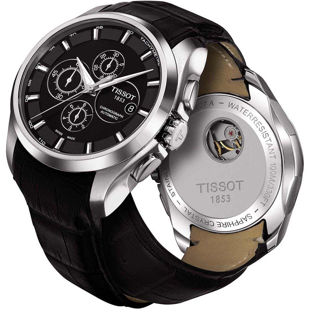 Tissot Men S Couturier Black Leather Automatic Chronograph Watch